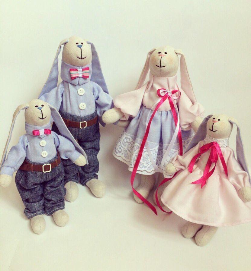 Фото - Семья заек тильда SWEET FAMILY, пара заек, ручная работа, подарок