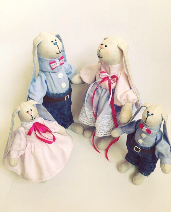 Фото 5 - Семья заек тильда SWEET FAMILY, пара заек, ручная работа, подарок