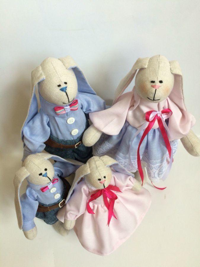Фото 3 - Семья заек тильда SWEET FAMILY, пара заек, ручная работа, подарок