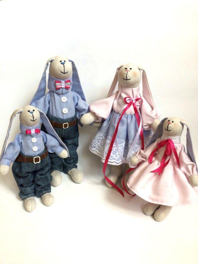 Фото 2 - Семья заек тильда SWEET FAMILY, пара заек, ручная работа, подарок