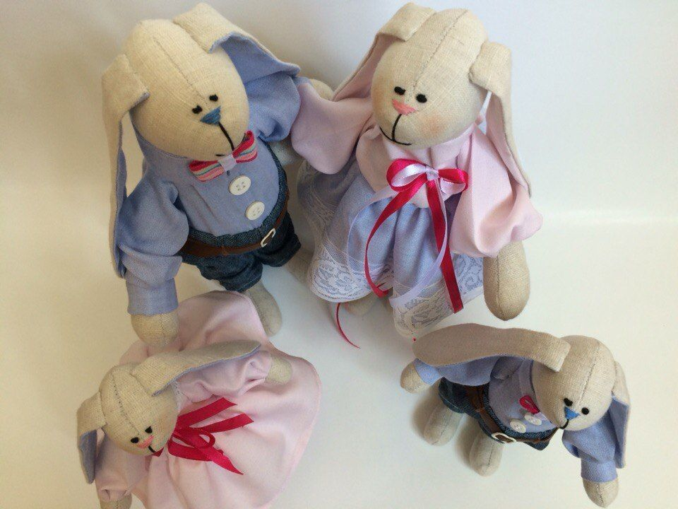 Фото 7 - Семья заек тильда SWEET FAMILY, пара заек, ручная работа, подарок