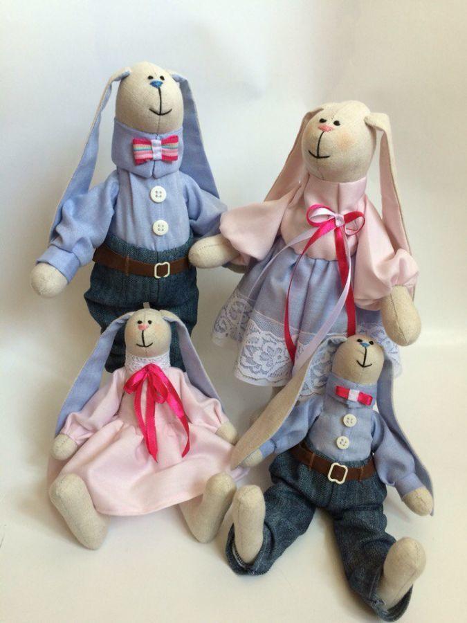Фото 4 - Семья заек тильда SWEET FAMILY, пара заек, ручная работа, подарок