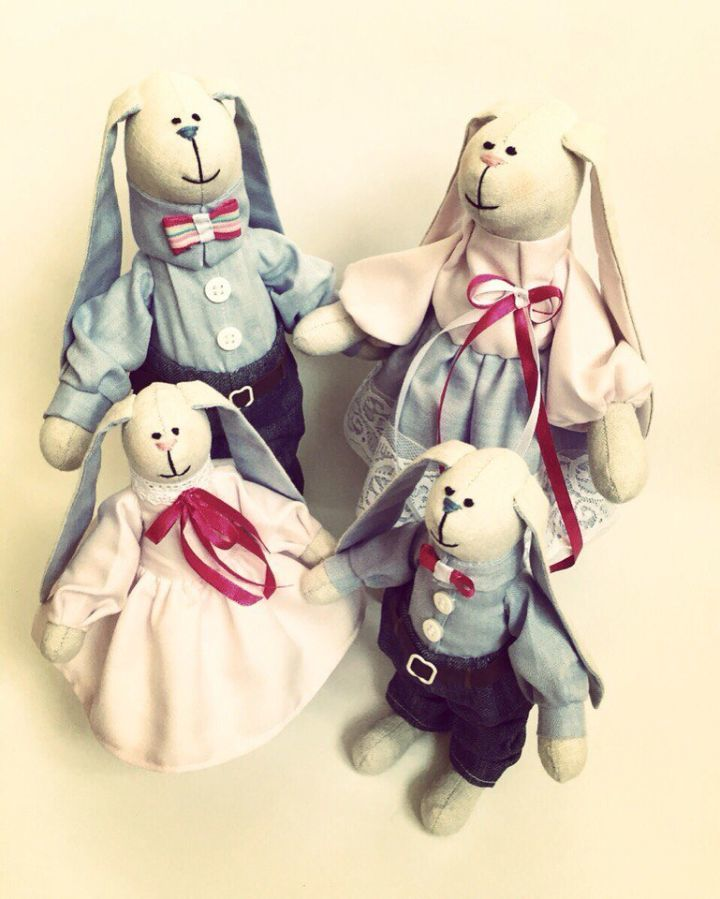 Фото 6 - Семья заек тильда SWEET FAMILY, пара заек, ручная работа, подарок
