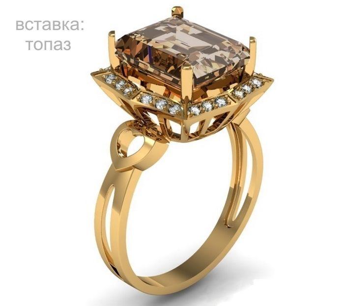 Фото - Золотое кольцо с Раухтопазом (20310)