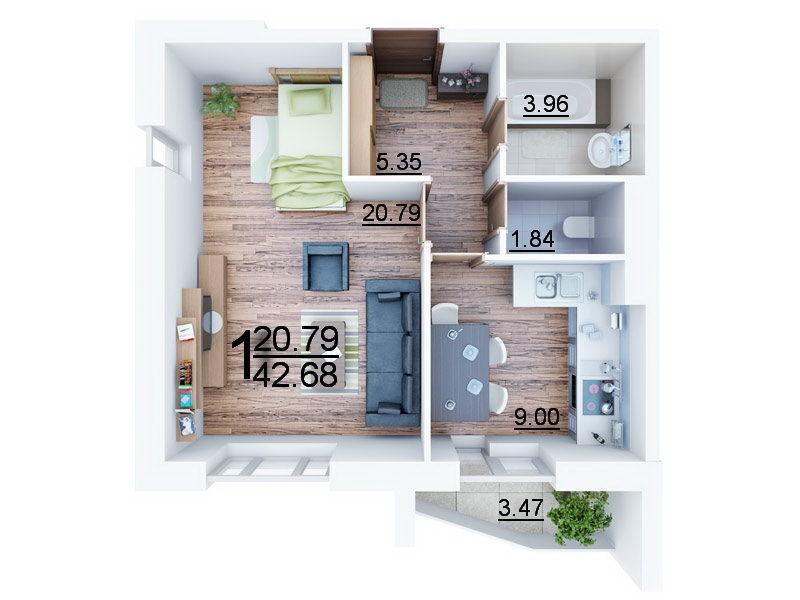 Фото - 1к квартира 43м2 в ЖК Атлант