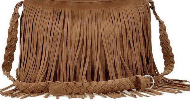 Фото 5 - Сумка Boho от Totally (бохо-шик,бахрома,плетеная ручка,серая,чёрная)