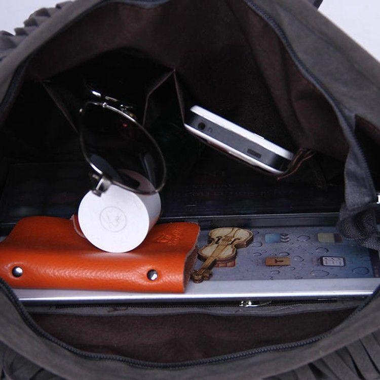 Фото 8 - Сумка Boho от Totally (бохо-шик,бахрома,плетеная ручка,серая,чёрная)