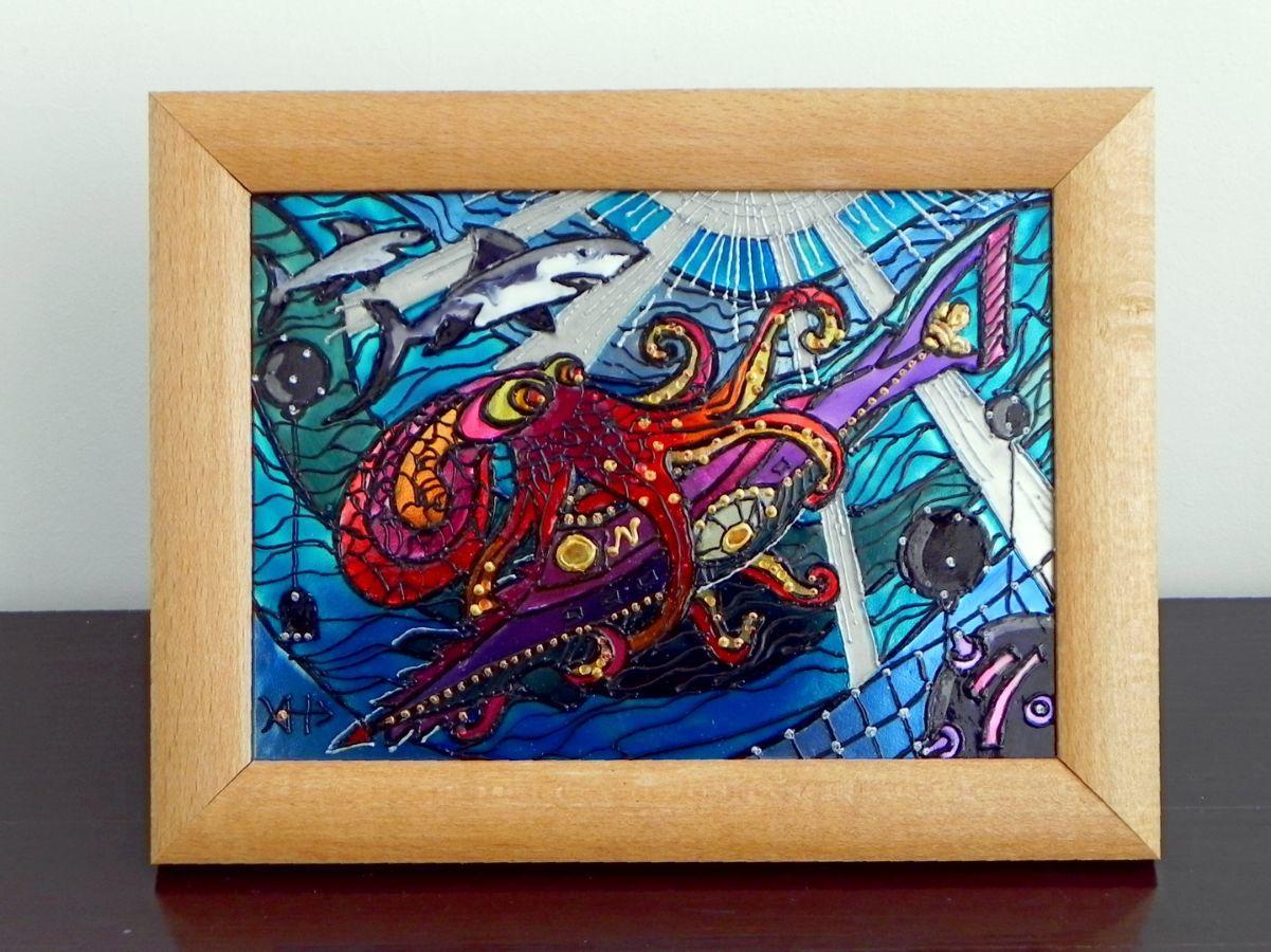 Фото - Витражная картина «Подводная схватка»
