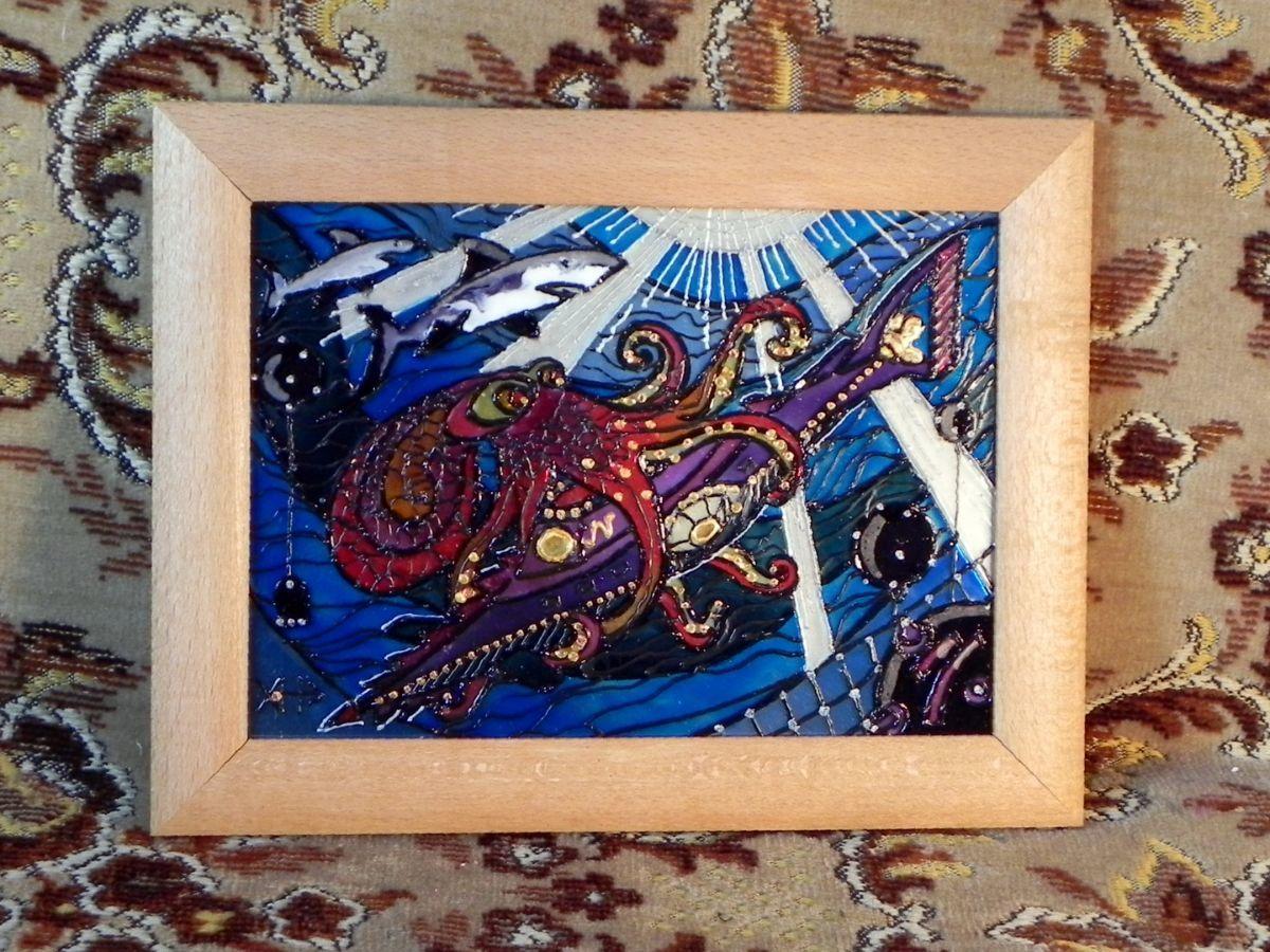 Фото 3 - Витражная картина «Подводная схватка»