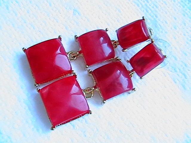 Фото 2 - Серьги ''Красные''. С подвесами.