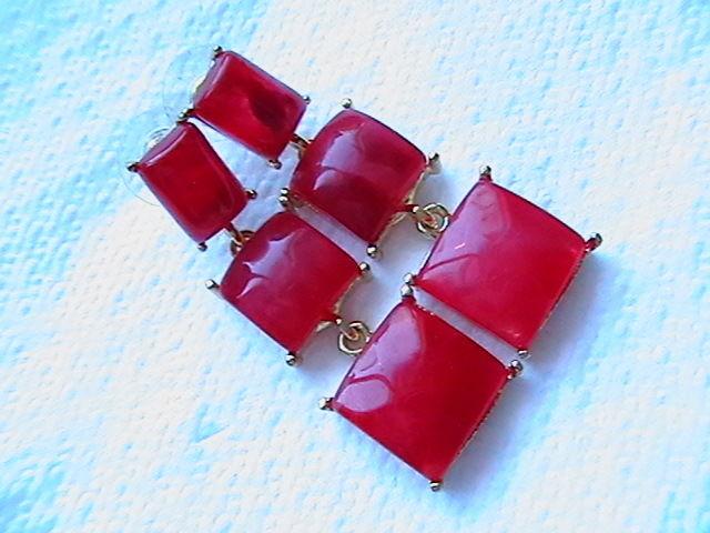 Фото 3 - Серьги ''Красные''. С подвесами.