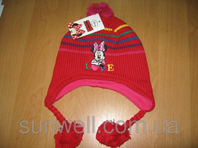 Фото 2 - Детская шапка осень-зима Минни маус р. 52, 54, подкладка флис