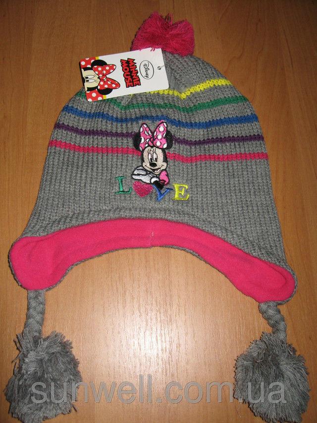 Фото 3 - Детская шапка осень-зима Минни маус р. 52, 54, подкладка флис