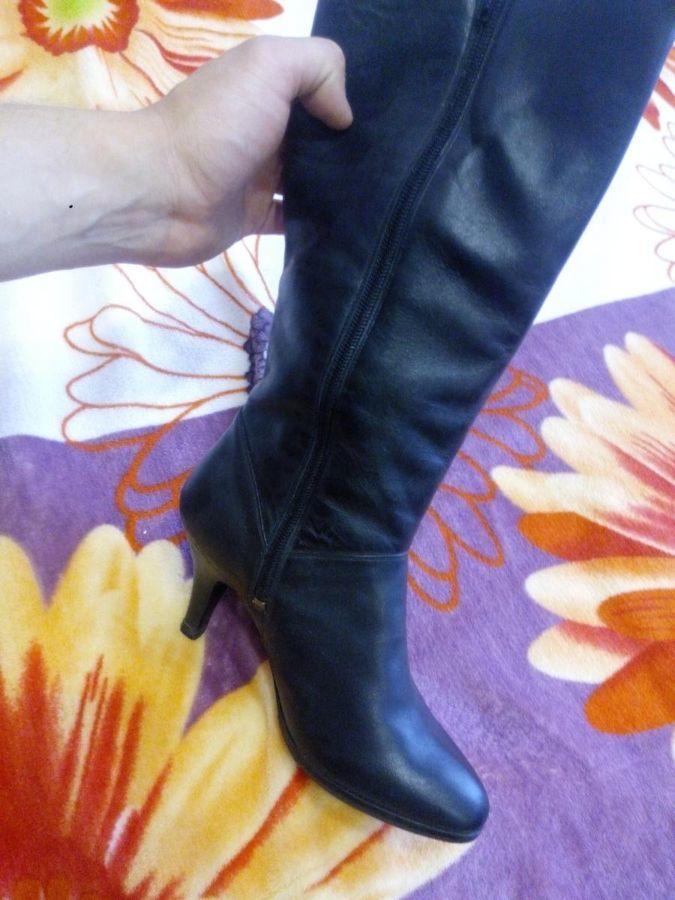 Фото 4 - Сапоги зимние женские кожаные