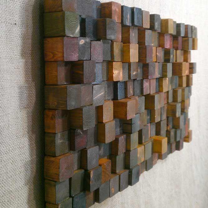Фото 10 - Декоративная отделка стен 3-D мозаикой, деревянными плитами.