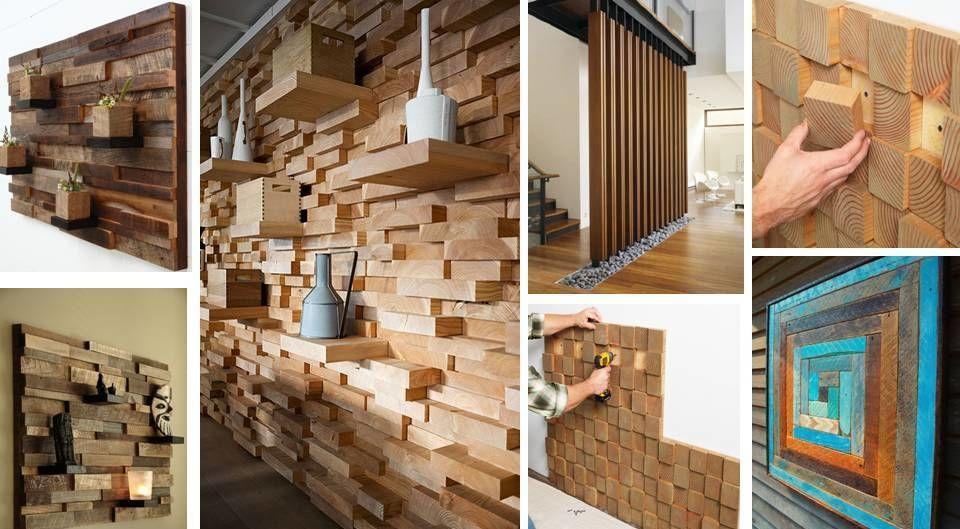 Фото - Декоративная отделка стен 3-D мозаикой, деревянными плитами.