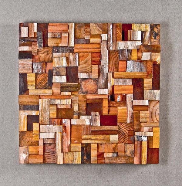 Фото 9 - Декоративная отделка стен 3-D мозаикой, деревянными плитами.