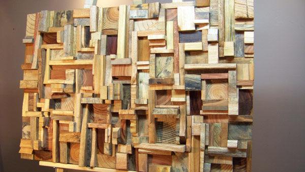 Фото 7 - Декоративная отделка стен 3-D мозаикой, деревянными плитами.