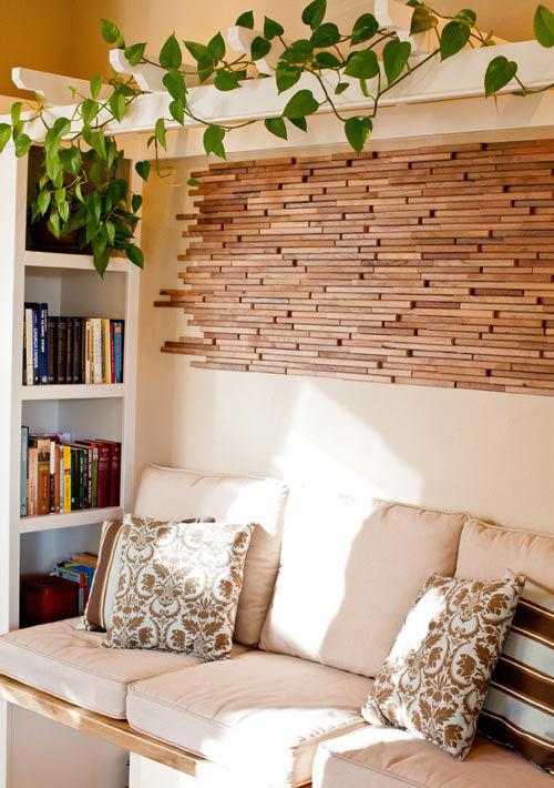 Фото 5 - Украшение стен деревянными панелями 3-D мозаикой, изголовье.