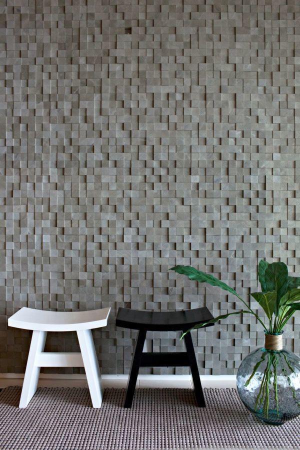Фото 2 - Украшение стен деревянными панелями 3-D мозаикой, изголовье.