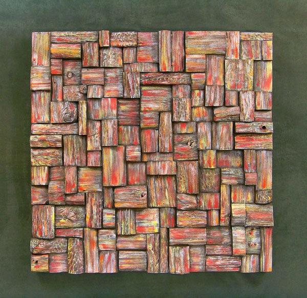 Фото 3 - Украшение стен деревянными панелями 3-D мозаикой, изголовье.