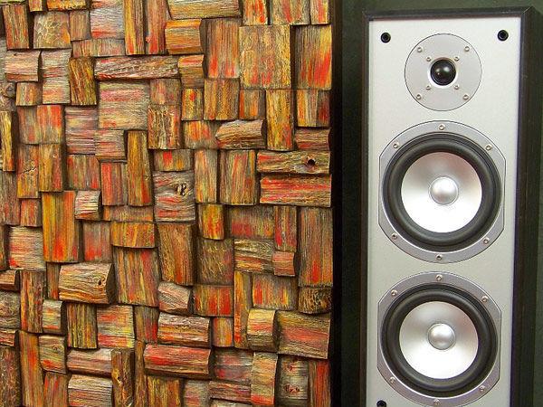 Фото 4 - Украшение стен деревянными панелями 3-D мозаикой, изголовье.