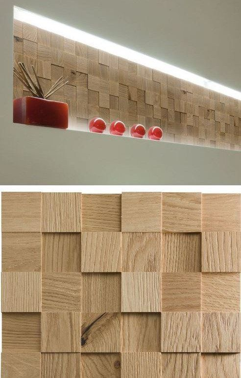 Фото 6 - Деревянные панели с 3-D мозаики, облицовка стен деревом.