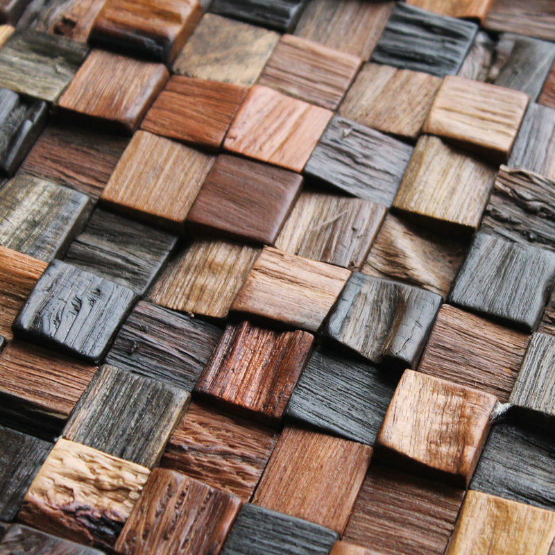Фото - Деревянные панели с 3-D мозаики, облицовка стен деревом.