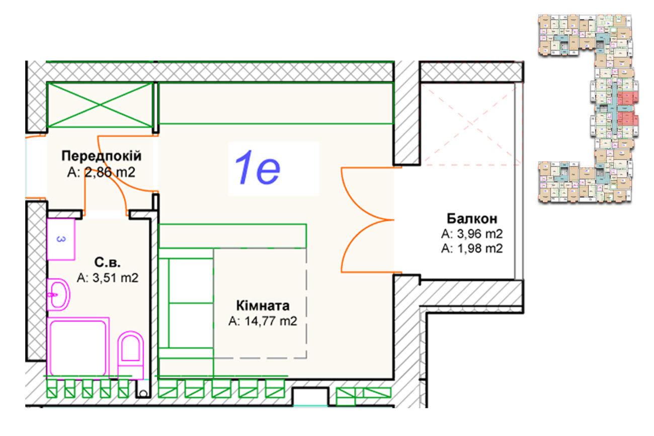 Фото 2 - Квартира-студия в ЖК Фортуна
