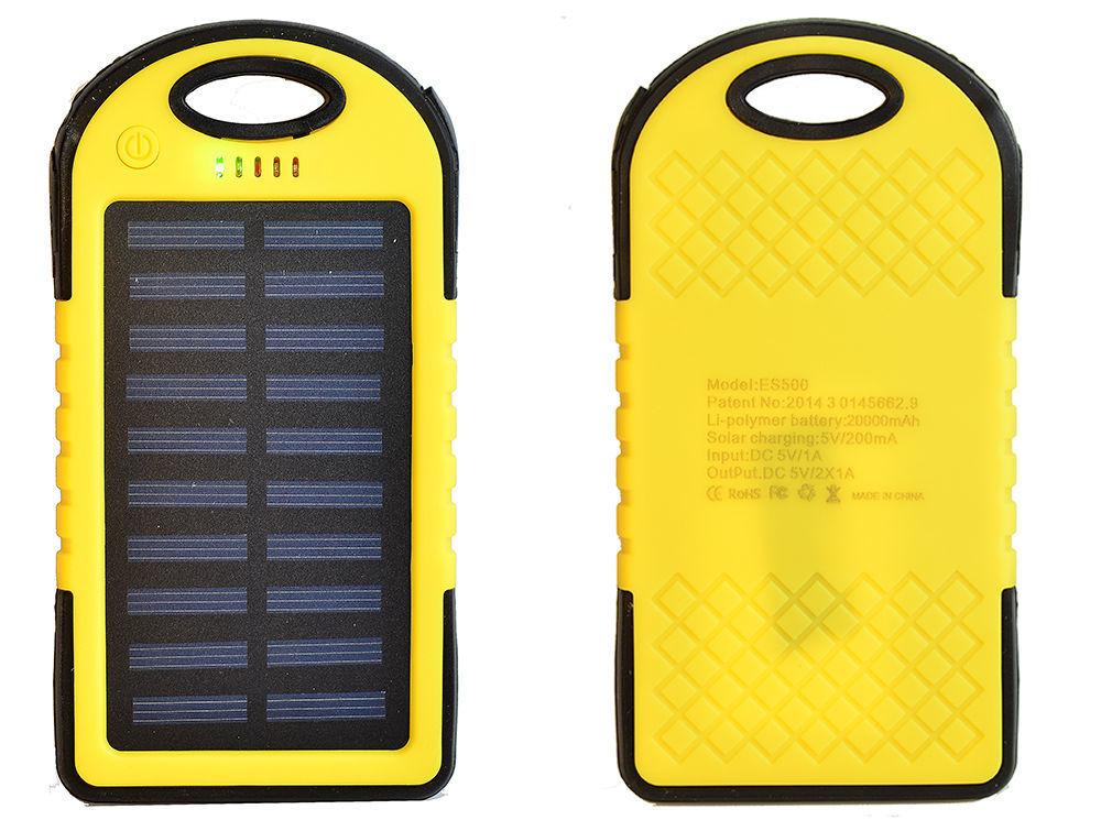 Фото 2 - Power Bank 20000 Solar 2 USB Led солнечная батарея повар банк павер