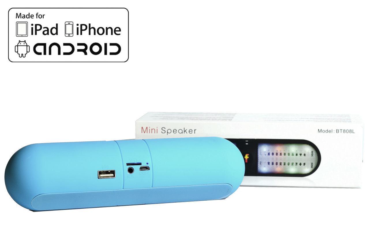 Фото 3 - Колонка с подсветкой Блютуз usb microSD Радио портативная качественная