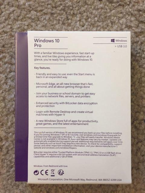 Фото 5 - Microsoft Windows 10 Pro Full 64 & 32 Bit SKU Fqc-08788 USB