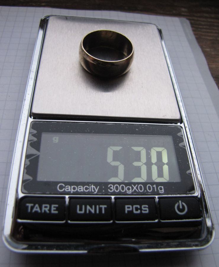 Фото 4 - Обручальное кольцо СССР без клейм из золотистого сплава