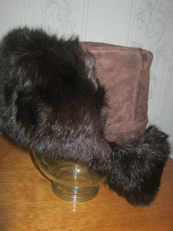 Фото 2 - Новая шапка-ушанка ( не обманка) из замши и кролика