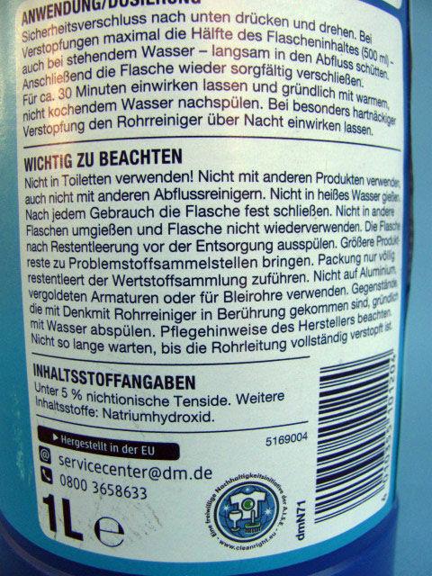Фото 2 - Средство для прочистки труб Denkmit Rohrreiniger 1л.Германия.