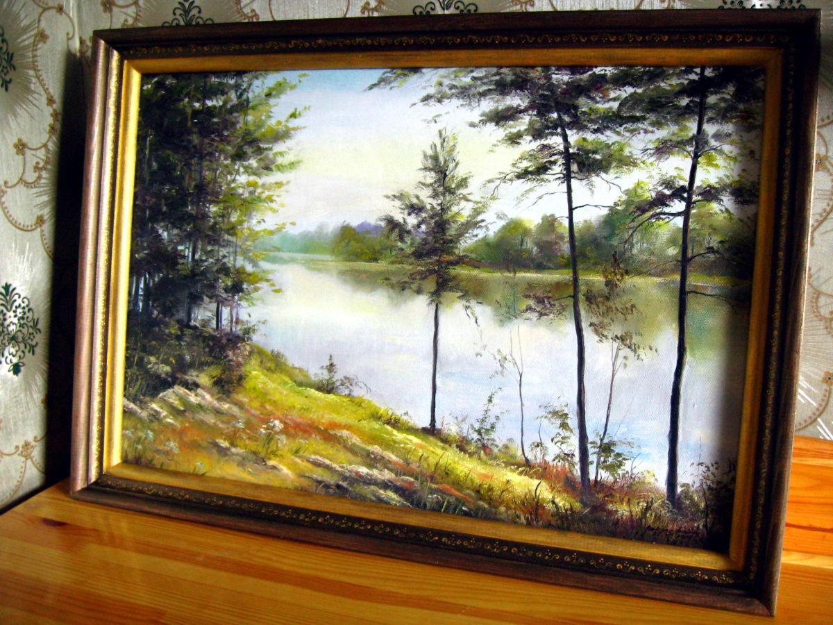 Фото - Картина Тихая река. Холст, масло. 60х40 в раме! (На заказ)