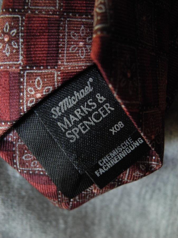 Фото 4 - Мужской галстук 100% Шелк красный бардовый Marks and Spencer Italy