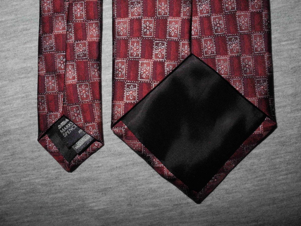 Фото 3 - Мужской галстук 100% Шелк красный бардовый Marks and Spencer Italy