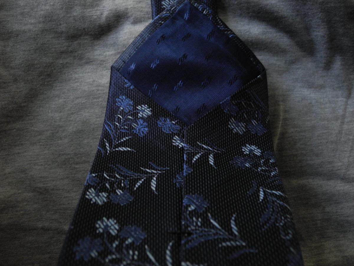 Фото 8 - Мужской галстук 70% Шелк 30% Шерсть синий в цветочек Spain