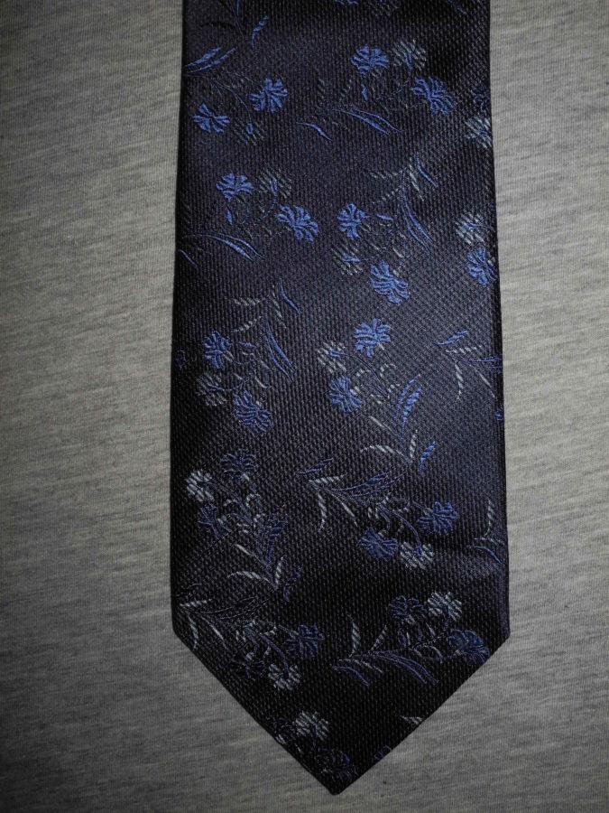 Фото 3 - Мужской галстук 70% Шелк 30% Шерсть синий в цветочек Spain