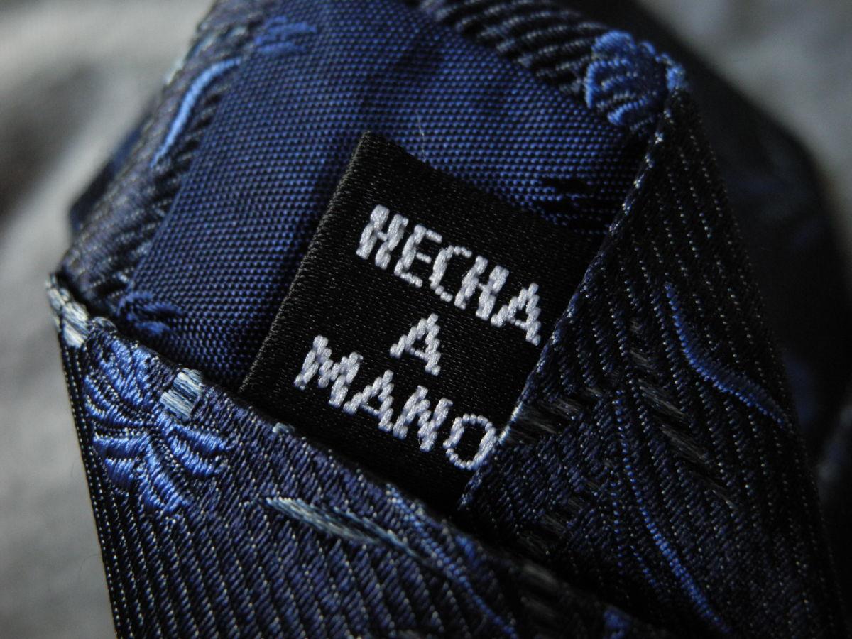 Фото 4 - Мужской галстук 70% Шелк 30% Шерсть синий в цветочек Spain