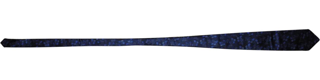 Фото 2 - Мужской галстук 70% Шелк 30% Шерсть синий в цветочек Spain