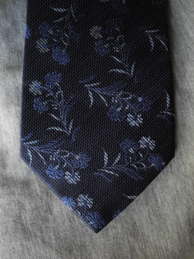 Фото 7 - Мужской галстук 70% Шелк 30% Шерсть синий в цветочек Spain