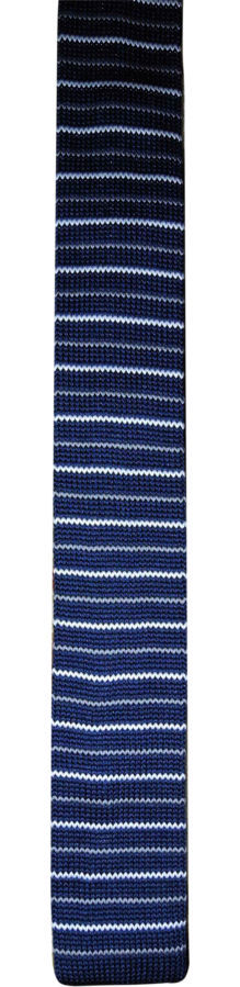 Фото 3 - Мужской галстук узкий в полоску синий Butlerandwebb