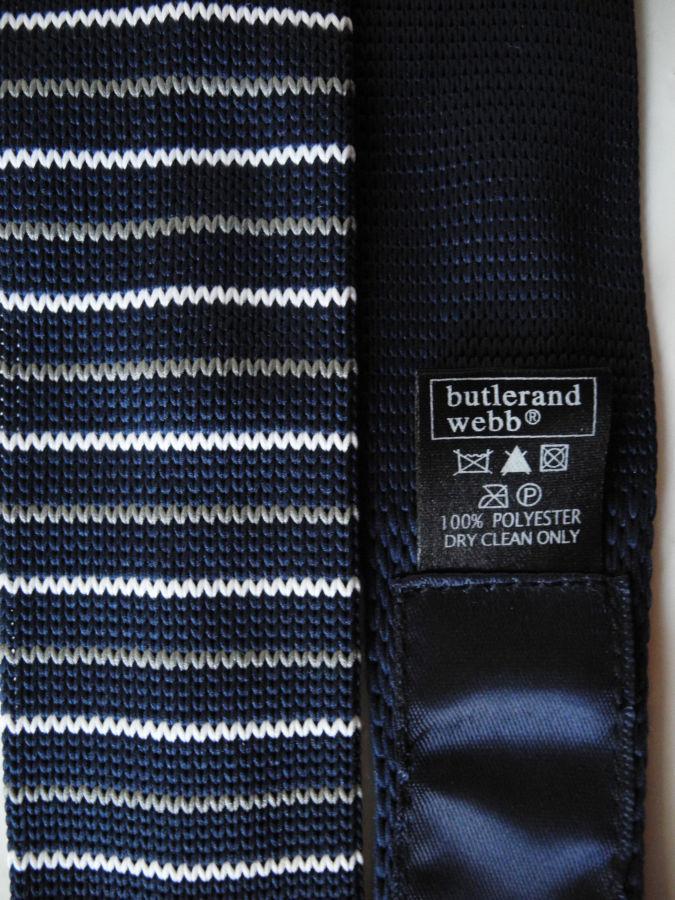 Фото - Мужской галстук узкий в полоску синий Butlerandwebb