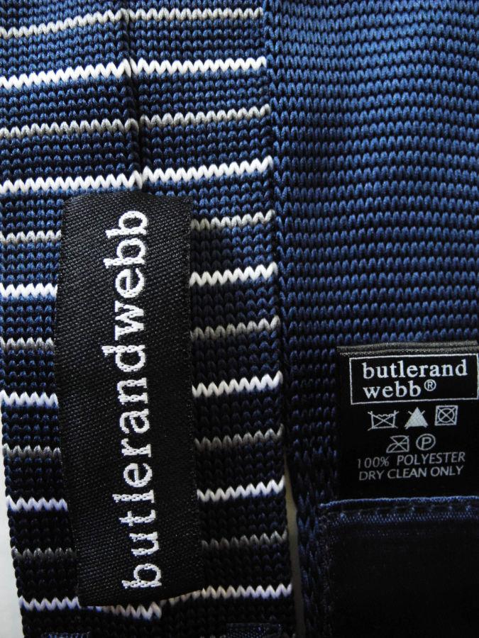 Фото 4 - Мужской галстук узкий в полоску синий Butlerandwebb