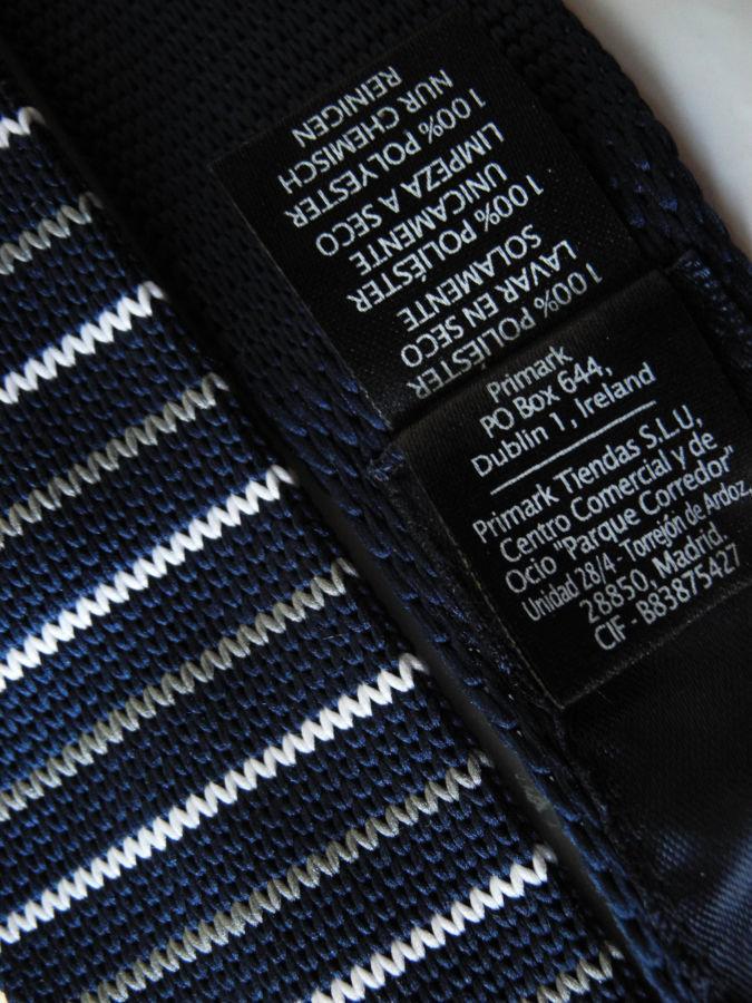 Фото 5 - Мужской галстук узкий в полоску синий Butlerandwebb
