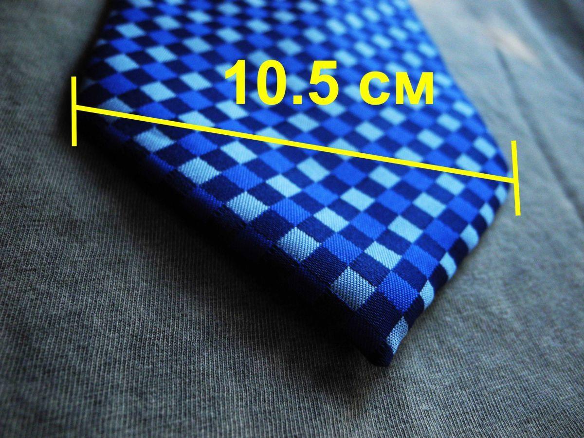 Фото - Мужской галстук 100% шелк в клетку синий Hugo Boss Italy