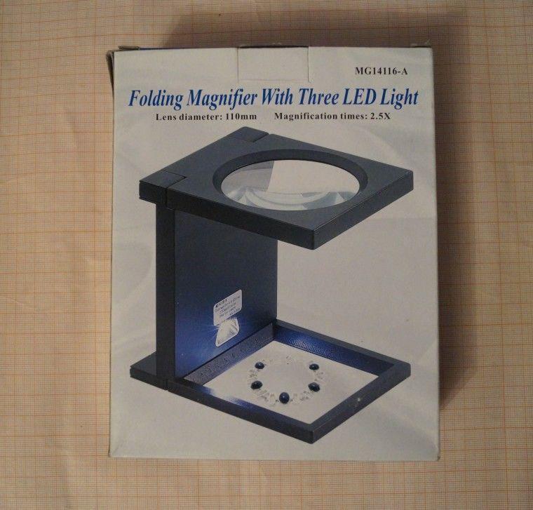 Фото - Лупа 110мм 2,5х на подставке MG-14116-A с подсветкой