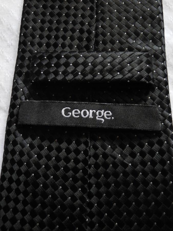 Фото 7 - Мужской галстук в крап темно серый не широкий узкий George